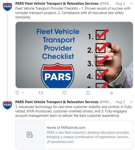 PARS Twitter - Fleet Vehicle Provider Checklist
